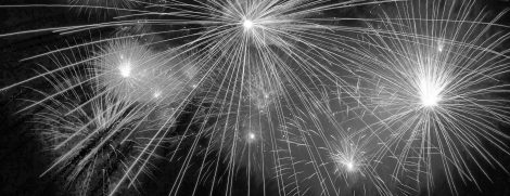 Fireworks display black and white